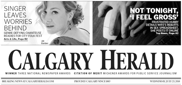 The Calgary Herald brings readers last Friday's news on a Wednesday (Graphic by the Calgary Herald)